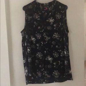 Flowy Floral Navy Tank Top, Plus Size 1X